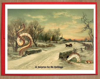 Tentacle, Christmas Cards, Octopus, Kraken, Funny Christmas Card, Cthulhu, Holiday Cards, Alternate Histories, Geekery, Christmas Scene