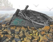 Wooden Shipwrecked Boat run aground on a rocky beach in the fog with flying gulls - A Fine Art Boat Seascape Photograph
