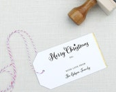 Merry Christmas Rubber Stamp for gifts and presents custom with your name