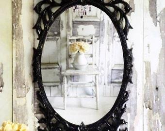 R O C O C O... Hollywood  Regency Ornate Glossy Black Mirror