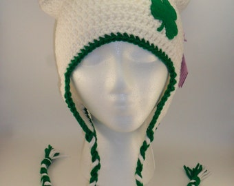 Kitty Cat Ears Hat with Braided Ear Flaps - Lucky Irish Shamrock St Patrick's Day Green and White