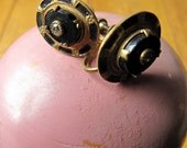 vintage 40s black copper and pyrite earrings
