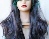 SALE Green wig | Cosplay wig, scene wig, emo wig | Gray Teal Hair | Lolita Cosplay Punk Rock Scene | Emerald Moonstone