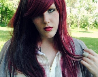 SALE Red wig, brown wig, scene wig, cosplay wig // Deep Red Brown Blonde Hair // Straight Long Layered // Berry Delight
