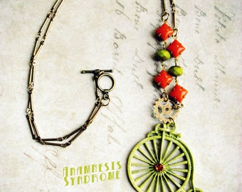 Penny Farthing bicycle necklace green-yellow, victorian & gothic