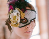 Gold and purple masquerade half mask with chains
