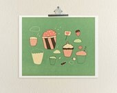 Deconstructed Sweetness // Illustration, Digital Print, Kitchen Decor, Food Art, Cupcakes, Baking, Love, Quirky Romance, Hearts, Pink