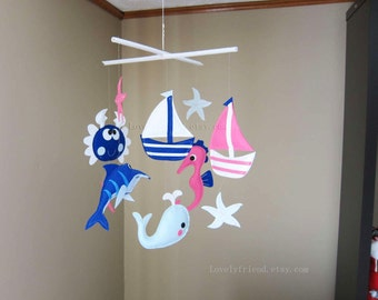 "Baby Mobile - Starfish Crib Mobile - ""boats, sea horse, Marlin fish"" design  - Handmade Nursery Mobile (Match your bedding)"