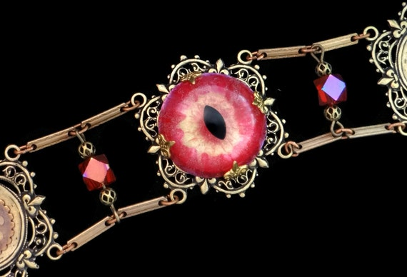 Steampunk Bracelet Steampink Eye Sightmares in Gold and Pink by Dr Brassy Steampunk