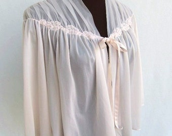 Vintage 60's Bed Jacket Lingerie Soft Pink Nylon and Chiffon Vanity Fair Size Small