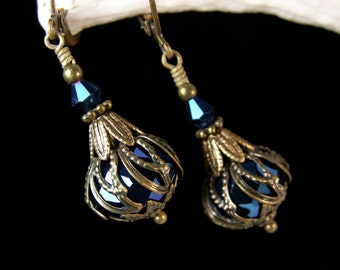 Dark Metallic Blue Crystal Drop Steampunk Earrings Antiqued Gold Bronze Filigree Titanic Temptations Vintage Victorian Bridal Style Jewelry