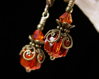 Orange Cathedral Crystal Dangle Drop Earrings Antiqued Gold Bronze Filigree Titanic Temptations Jewelry Vintage Victorian Bridal Style