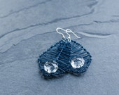 Leaf Earrings -Angular- in Matte Jeans Blue and Transparent