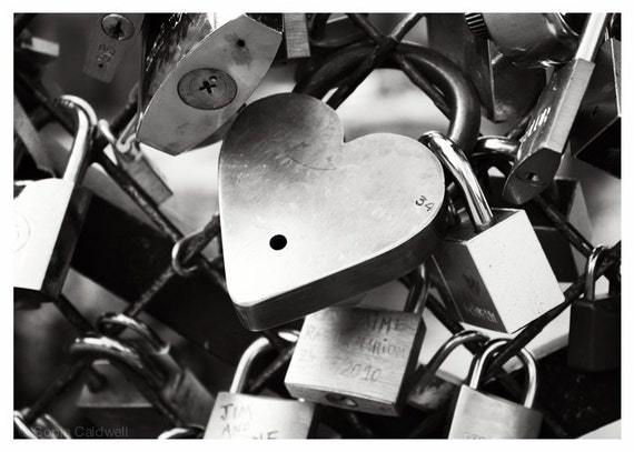 "Love Locks, Paris - black and white photography, padlocks on the bridge, 10"" x 14"" and larger - Original Fine Art Photograph"
