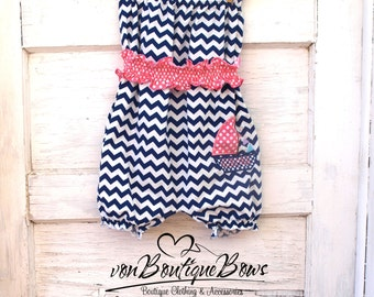 Strapless Bubble Romper Navy Chevron Sailboat Pink Polka Dot Sash 0-3 3-6 6-12 12-18 18-24 months 2T 3T 4T 5T by vonBoutiqueBows
