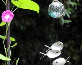 Fishing Float Wind Chime W/ Silver Spoon Fish, Fishnet Decor, Flatware Windchime Outdoor Gardening Art, Outside Patio Backyard Yard Spinner