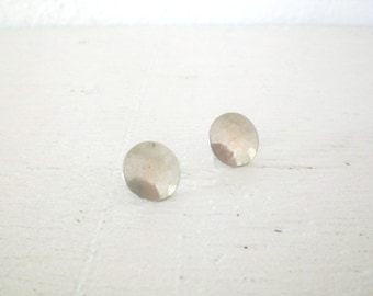 Vintage Sterling Silver Earrings Round Earrings Circle Flat Disc Screw Back Mid Century GallivantsVintage