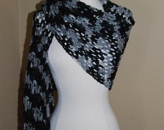 Black & Grey Crochet Shawl