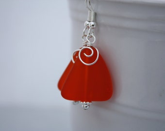 Orange Sea Glass Earrings Seaglass Earrings Sea Glass Jewelry Beach Glass Earrings Beach Glass Jewelry Beach Jewelry Seaglass Jewelry 080