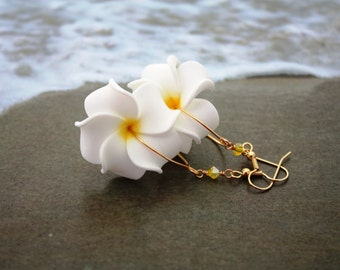 White Flower Earrings Plumeria, Frangipani Floral Earrings, Hawaii Jewelry Hawaiian Jewelry Tropical Flower Flower Jewelry Floral Jewelry 25