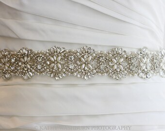 BACK in stock - Luxurious Bridal crystal pearl sash, bridal crystal pearl belt sash, crystal wedding pearl belt - Katerina