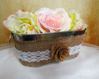 Shabby Chic Galvanized Tin Basket - Shabby Chic Wedding Decoration, Rustic Wedding Decor, Barn Wedding, Rustic Wedding