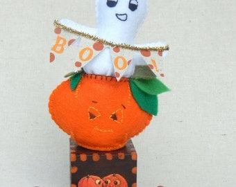 Lil Pumpkin Ghost Felt Soft Sculpture