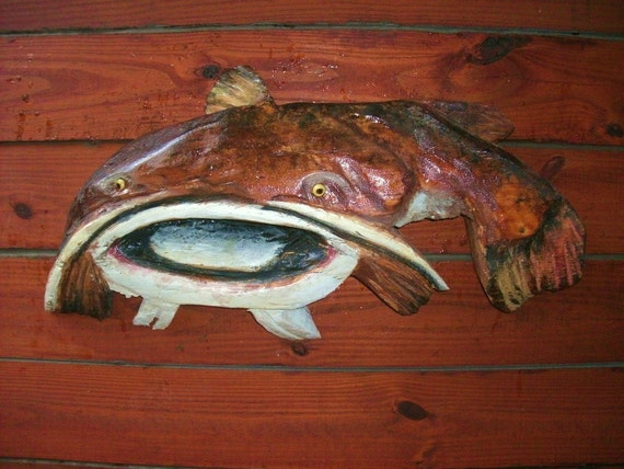 Catfish with mouth open chainsaw wood carved by