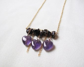 Translucent Purple Amethyst Hearts and Black Agate Chips Organic Mineral Stone Necklace