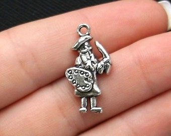 4 Artist Charms Antique  Silver Tone 2 Sided Painter - SC2053