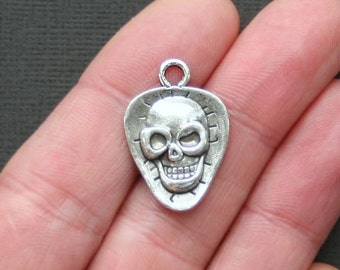 10 Skull Charms Antique  Silver Tone - SC2536