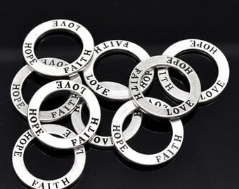 4 Love Hope Faith Charms Antique  Silver Tone Affirmation Circle Double Sided - SC3311