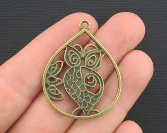 2 Large Owl Charms Antique Bronze Tone - BC359