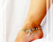 Ocean Meets Sea Starfish Anklet Cruise Vacation Blue Green Crystal Silver Ankle Bracelet Beach Anklet