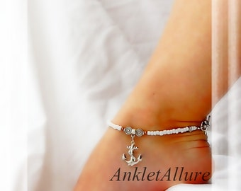 ANCHOR AWAY Boat Anchor Anklet Silver Ankle Bracelet Cruise Vacation Jewelry