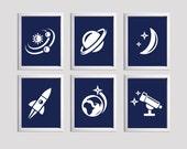 Kids Nursery Wall Art Space Planet Rocket set of 6
