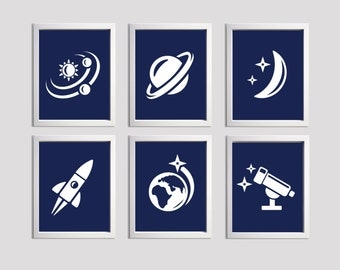 Navy Outer Space Nursery Art , Kids Boy Navy Wall Decor , Nursery Wall Art Space Planet Rocket set of 6