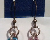 Pink, Blue, Bronze, and Champagne Mobius Ball Chainmaille Earrings