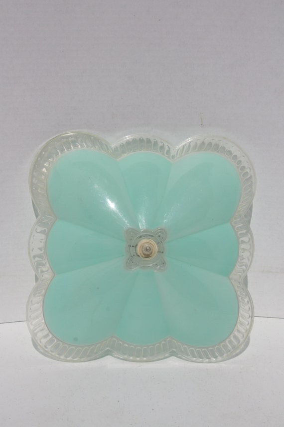 Ceiling Light Lamp Shade Aqua Plastic Clip On:Vintage Ceiling Light Lamp Shade Aqua Plastic Clip On,Lighting