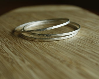 Made-to-Order—Three Solid Hammered Sterling Silver Bangle Bracelets