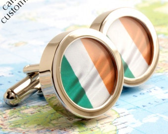 Irish Flag Cufflinks Irish Gift Luck of the Irish Tricolour Cufflinks - or Choose Your Flag PC058