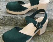 RESERVED... One of two payments... Vintage Forest Green Wooden Clog Mary Janes... Size 39 or 8.5-9... swedish hasbeens boho platform indie