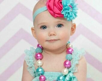 Baby Headband and Girls Chunky Necklace SET,Girls Bubblegum Chunky Necklace,  Easter Baby Headband, Easter Chunky Necklace, Baby Hair Bows.