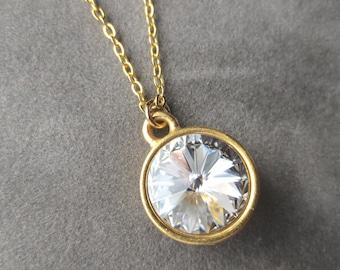 Swarovski Crystal Clear Jewelry, Gold April Birthstone Necklace, April Diamond Necklace, Birthstone Jewelry