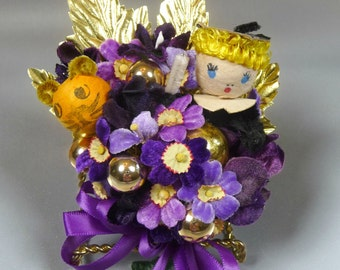 LSU Corsage  Vintage Spun Cotton Mike the Tiger and Graduate Purple Gold Alumni Homecoming Commencement Keepsake