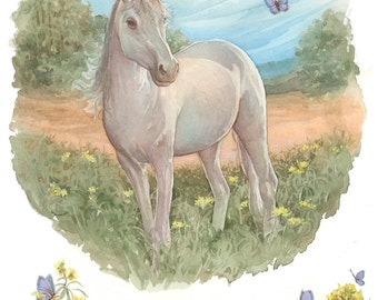 Unicorn and Butterflies 8.5x11 Signed Print