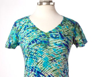 S Boho T Shirt  V-Neck T Violet - Green  Tie Dye Women's Boho Dyed Clothing