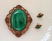 Vintage Demi Parure Large Genuine Malachite Brooch Pendant  and Post Earrings