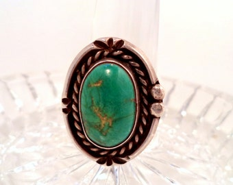 Fred Harvey Era Green Turquoise Sterling Silver Ring Navajo Jewelry
