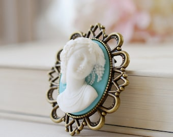 Large Cameo Brooch. Blue and White Victorian Lady Cameo Brooch. Large Antique Bronze Lace Filigree Brooch, Gift for Mom, Valentines day gift